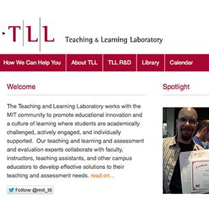 A screenshot of the MIT Teaching and Learning Laboratory website.
