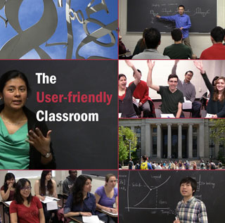 A composite of various images showing students and teacher's assistants in class.